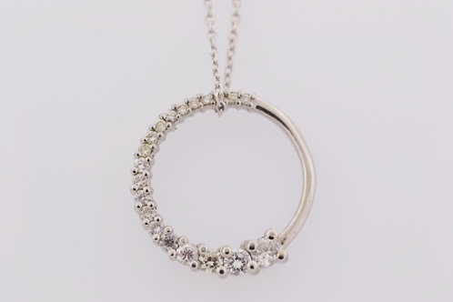 Graduated Diamond Pendant, Set in 14k White Gold