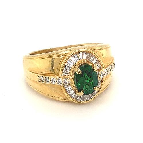 Tsavorite and Diamond Ring, in 18k Yellow Gold
