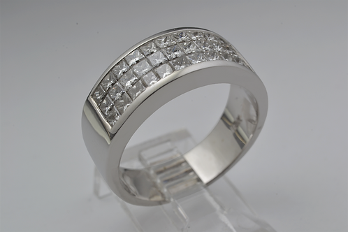 Square-Cut Channel Set Diamond Band, in 18k White Gold