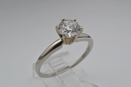 Round-Cut Diamond Ring, in 14k White Gold