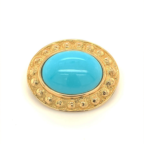 Turquoise Slide Pendant, in 18k Yellow Gold