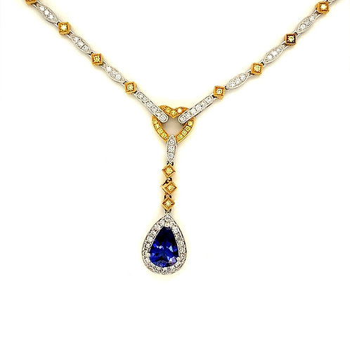 Dangling Tanzanite And Diamond Necklace,In 18k Two-Tone Gold