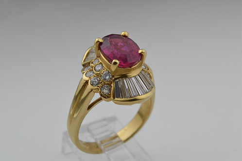 Handmade Tourmaline and Diamond Ring, in 18k Yellow Gold