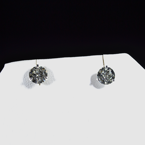 1.43CT Round Diamond Stud Earrings, 14k White Gold