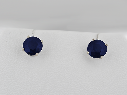 Round-Cut Sapphire Earrings, in 14k White Gold