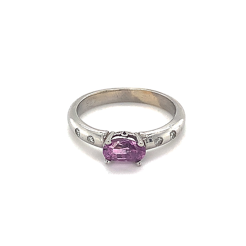 Natural Sapphire and Diamond Ring, Set in 14k White Gold