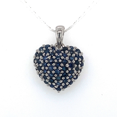 Sapphire Cluster Pendant, Set in 14k White Gold
