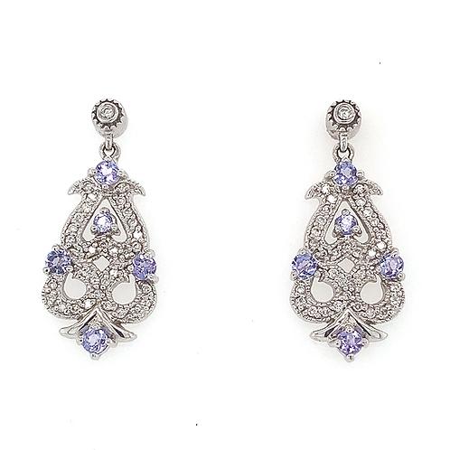 Tanzanite and Diamond Earrings, in 14k White Gold