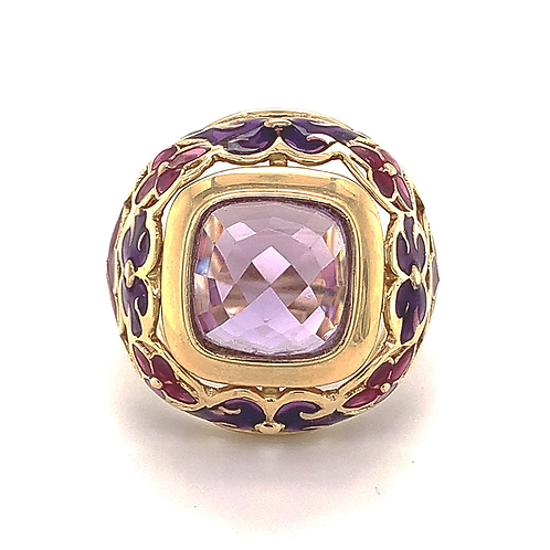 Amethyst Ring with Purple and Red Enamel in 14k Yellow Gold
