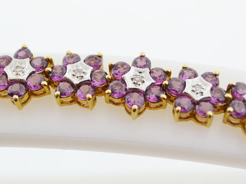 Garnet Flower Style Bracelet, with Diamond Accents in 14k Yellow Gold