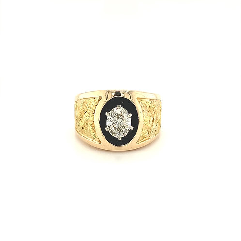Gold Nugget & Diamond Ring, in 14k Yellow Gold
