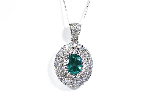 Alexandrite and Diamond Pendant, Set in 18k White Gold
