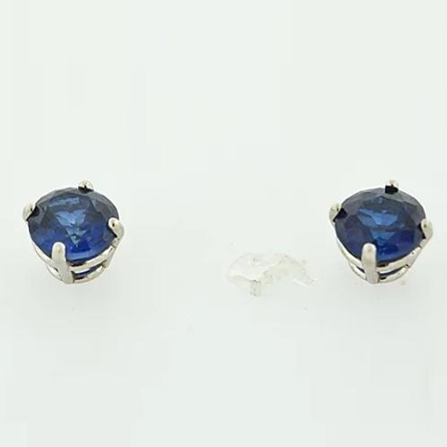 Round Blue Lab Sapphire Studs