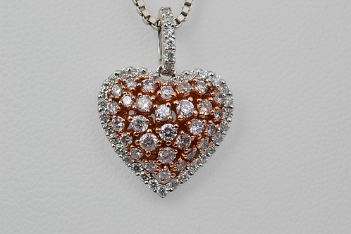 Faint Pink Diamond Heart Pendant with White Diamond Border, in 18k Two-Tone Gold