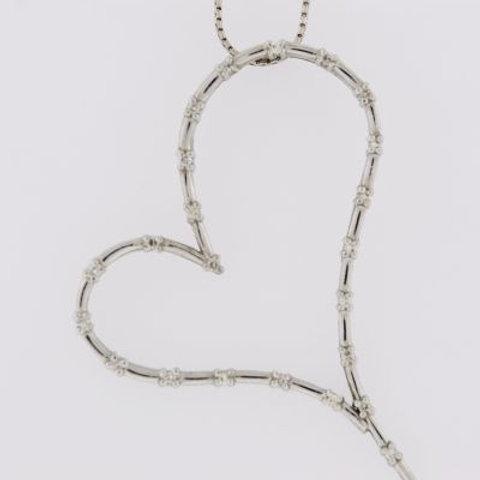 Floating Diamond Heart Pendant, Set in 14k White Gold