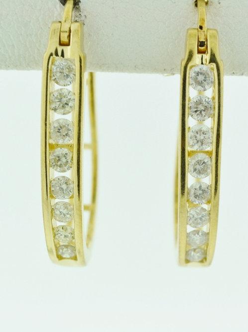 Round Brilliant-cut Diamond J-Hoop Earrings in 14k White Gold