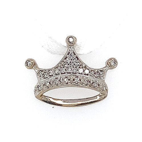 Diamond Crown Pendant, in 10k White Gold