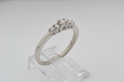 5-Stone Diamond Ring, 10k White Gold