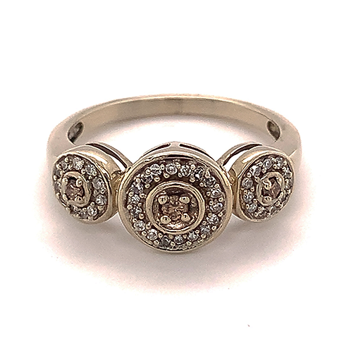 Past Present Future Diamond Ring, Set in 10k White Gold