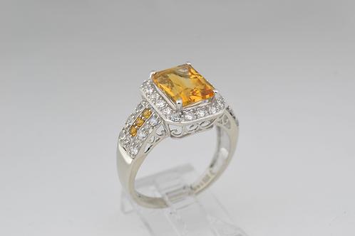 Citrine and White Topaz Ring, in 14k White Gold
