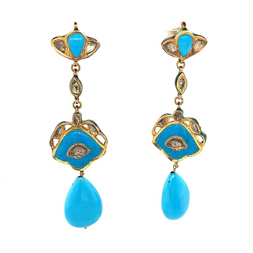 Persian Turquoise Cloisonné Earrings with Rough-Cut Diamonds, in 14k Yellow Gold