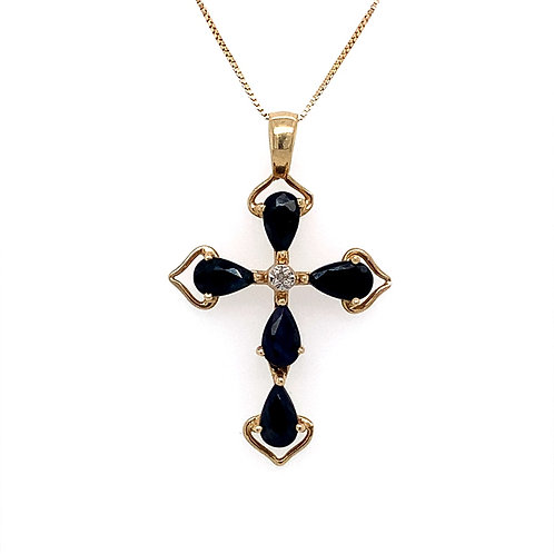 Sapphire Cross Pendant w/ Diamond Accent, in 14k Yellow Gold