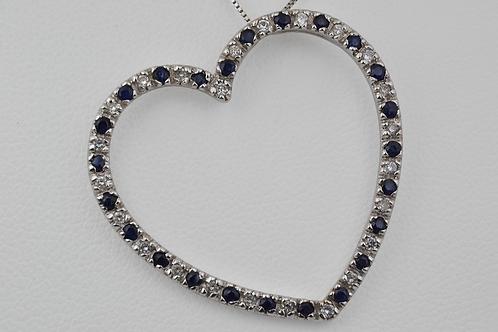 Sapphire and Diamond Pendant, Set in 14k White Gold