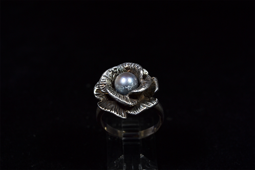 Sterling Silver Flower Pearl Ring
