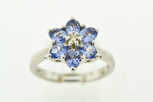 Flower Style Tanzanite Ring, w/Round Diamond Set in 14k White Gold