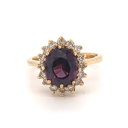 Spinel and Diamond Ring, in 14k Yellow Gold