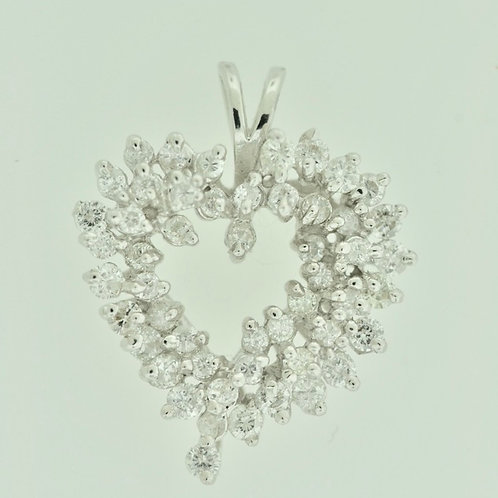 Heart Diamond Cluster Pendant Set in 14k Gold