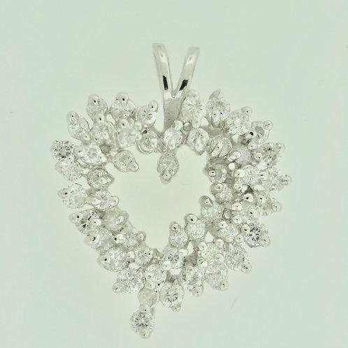 Heart Diamond Cluster Pendant Set in 14k Gold