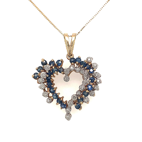 Diamond and Sapphire Heart Pendant, Set in 10k Yellow Gold