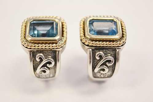 14k Yellow Gold Sterling Silver Earrings with Blue Topaz