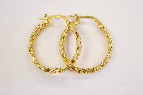 Vermiel Sterling Silver Hoop Earrings with Bizentine Pattern