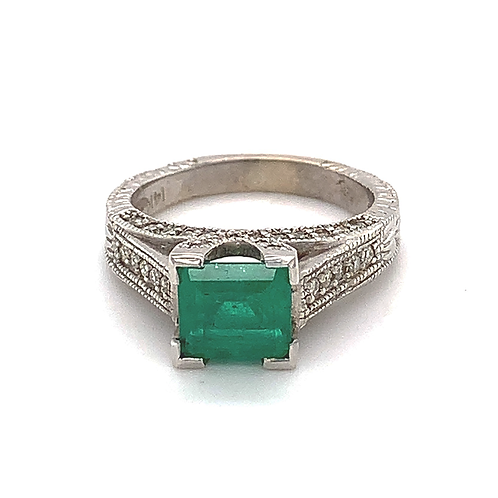 Muzo Emerald and Diamond Ring, in 14k White Gold