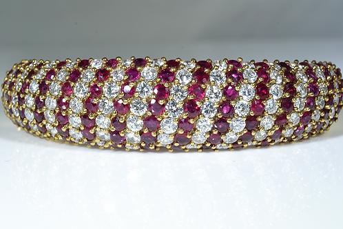 Handmade Ruby and Diamond Bangle, in 18k Yellow Gold