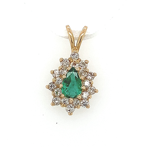 Emerald and Diamond Pendant, in 14k Yellow Gold