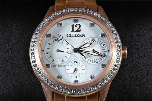 Rose Tone Stainless Steel Citizen Eco-Drive Watch with Accent Diamonds