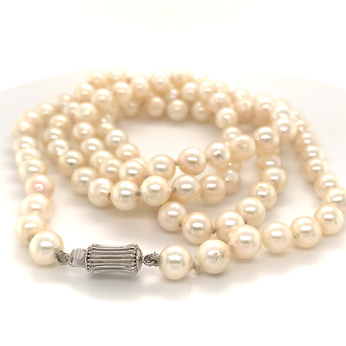 "30"" Pearl Necklace with 14k White Gold Clasp"