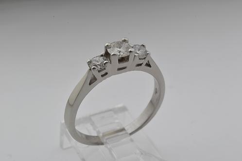 3-Stone Round-Cut Diamond Ring, in 14k White Gold