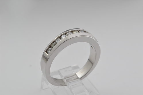 Round Brilliant-Cut Channel Band, Set in 14K Yellow Gold