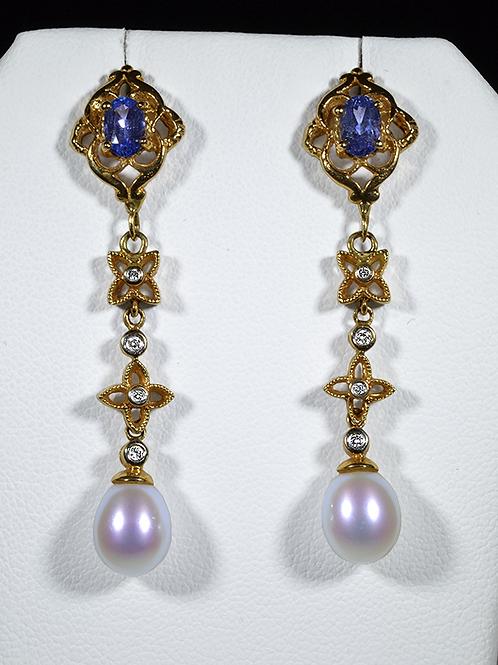 Pearl, Diamond, and Tanzanite Dangle Earrings, in 14k Yellow Gold