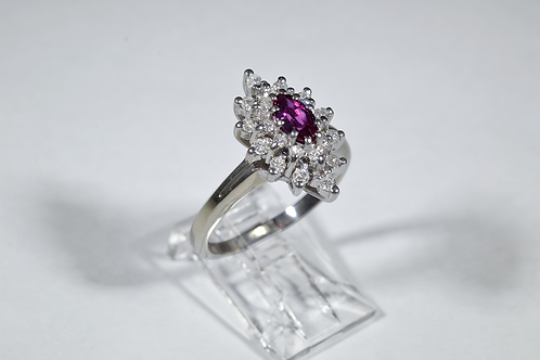 Marquise Ruby Ring with Round Brilliant-cut Diamonds in 14k White Gold