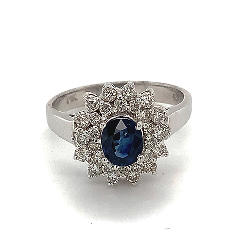 Ballerina-Style Sapphire Ring, with Round Brilliant-cut Diamonds Set in 14k Whit