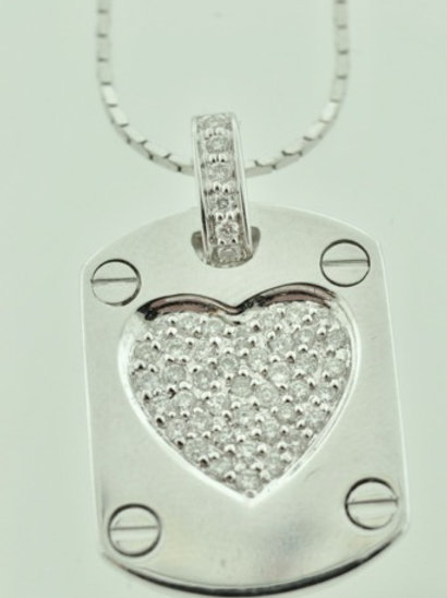 Small Heart Tag Pendant with Diamonds on 18K White Gold