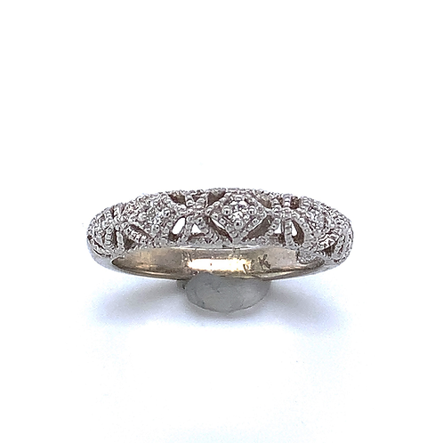 5-Diamond Milgrain Ring, in 14k White Gold