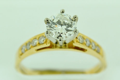Engagement Ring MOUNTING with Round Diamonds, Set in 14k Yellow Gold