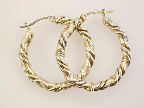 Sterling Silver Twist Style Hoop Earrings