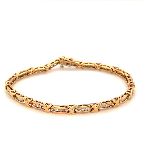 Baguette Diamond Tennis Bracelet, Set in 10k Yellow Gold